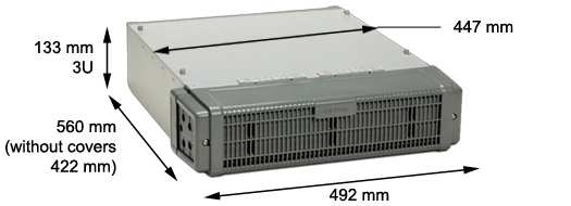 Dimensions of a standard 3 HU module